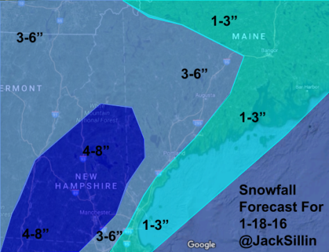 Expected Snowfall Tuesday Night Through Wednesday Morning