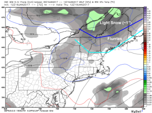 12Z GEM Showing More Flakes For Some On Thursday. Image Credit: Weatherbell
