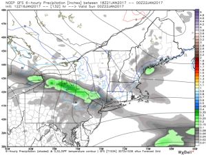 12Z GFS Showing More Light Rain/Snow Showers Saturday. Credit: Weatherbell