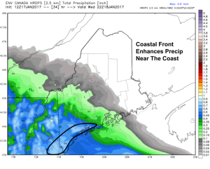 18Z HDRPS Model Showing Enhancement Of Precipitation Along The Coastal Front. Image Credit: Weatherbell