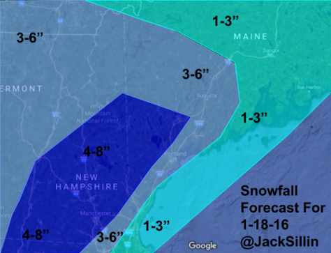 Expected Total Snowfall Through Wednesday Afternoon.