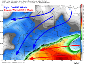 18Z NAM Showing Strong Winds For The Midcoast And Southern Shorelines Tuesday Morning. Image Credit: Weatherbell
