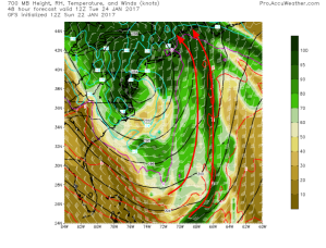 12Z GFS Showing Deep Moisture And Deep Warmth Streaming In From The Tropical Atlantic Tuesday Morning. Image Credit: Accuweather