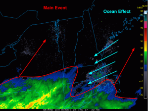 6 PM Radar Showing Ocean Effect Snows Ahead Of Main System. Image Credit: COD