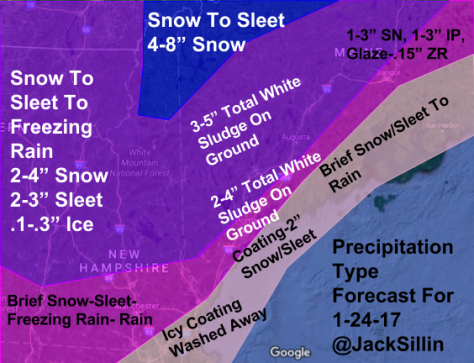 Forecasted Precip Types/Amounts For Tomorrow