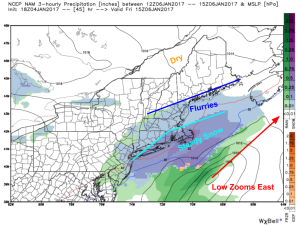 18Z NAM Showing Coastal Flurries Tomorrow Morning. Image Credit: Weatherbell