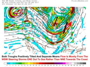 12Z GFS Upper Level Energy Map Showing Why The Storm Is Likely To Remain Mostly OTS. Image Credit: Accuweather