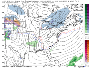 12Z GEM Showing A Weak Clipper Approaching The Region Monday Evening. Credit: Weatherbell