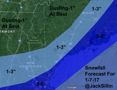 Expected Snowfall Through Tomorrow Morning