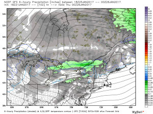 18Z GFS Showing Another Round Of Light Precip Wednesday Evening. Image Credit: Weatherbell
