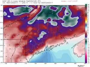 18Z GFS Showing Very Cold Air In Place Tuesday Morning. Credit: Weatherbell
