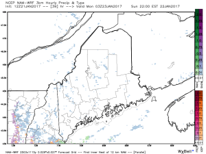 12Z 3km NAM Showing Light Flurries Tomorrow Night. Credit: Weatherbell