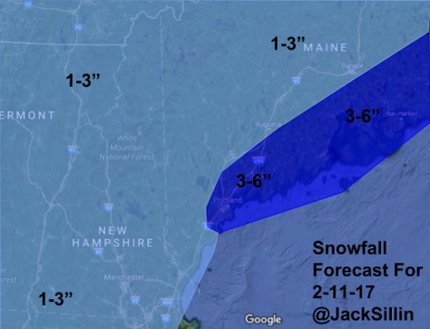 Snowfall Forecast Through Tomorrow Evening