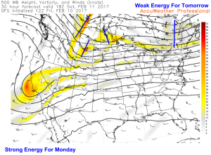 12Z GFS Showing Weak Energy Approaching Tomorrow With Stronger Energy Over The NW Plains For Monday. Image Credit: Accuweather