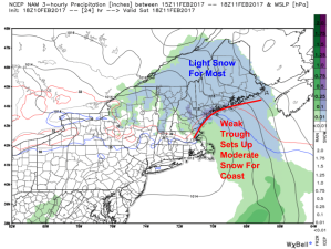 18Z NAM Showing Light To Moderate Snow Tomorrow Afternoon. Image Credit: Weatherbell