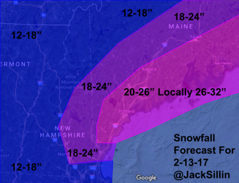 Total Snowfall Forecast Through Monday Evening