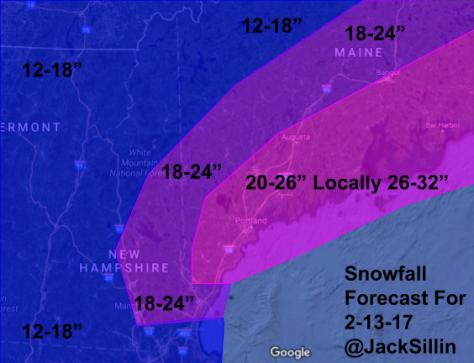 Total Snowfall Forecast Through Monday Evening