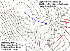 Surface Map Showing Low Pressure Just Developing Over Virginia. Image Credit: SPC