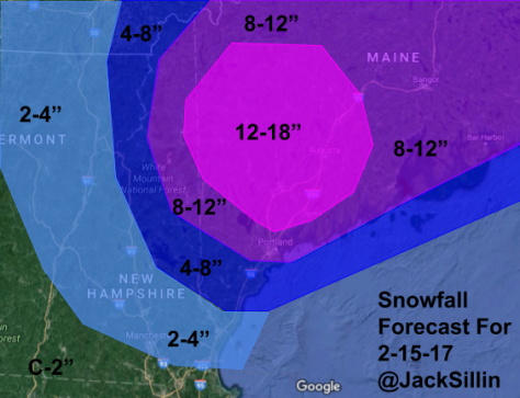 Snowfall Forecast Through Thursday Afternoon
