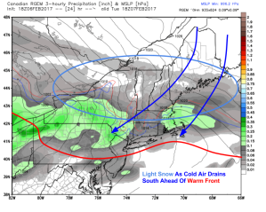 18Z RGEM Showing Light Snow During The Day Tomorrow