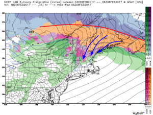 18Z NAM Showing Warmth Aloft And Cold At The Surface Leading To Sleet/Freezing Rain Early Wednesday Morning. Image Credit: Weatherbell