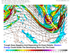 12Z GFS Showing Upper Level Potential For A Coastal Storm Thrusday. Image Credit: Accuweather