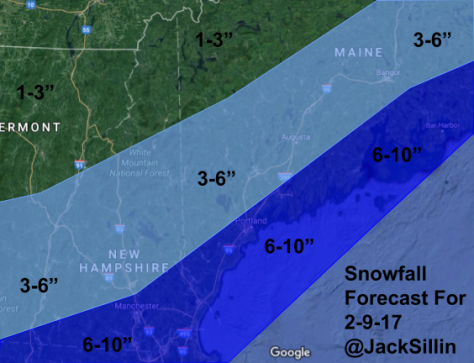 Forecast Snowfall For Thursday