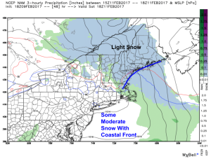 18Z NAM Showing Light Snow Saturday Afternoon. Image Credit: Weatherbell