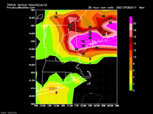 18Z NAM Showing Intense Upward Motion Monday Morning. Image Credit: Accuweather
