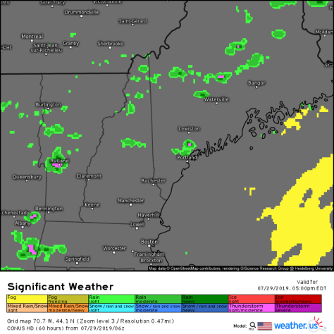 3km NAM model showing widely scattered showers and storms this afternoon/evening across Northern Maine and New Hampshire